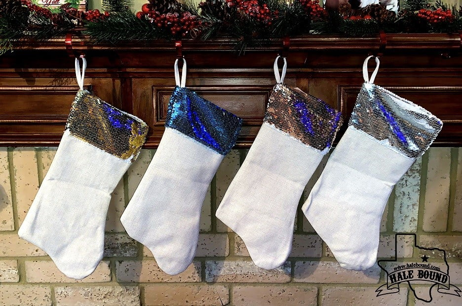SEQUIN LINEN CHRISTMAS STOCKINGS - SUBLIMATION